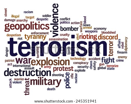 Word cloud with terms related to terrorism, terror, hatred, geopolitics, destruction and violence - stock vector