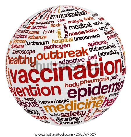 Word cloud with terms related to vaccination of children and adults, immunization, healthcare and prevention of viral and bacterial diseases - stock vector