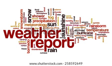 Word cloud with words related to weather, climate change, meteorology and climate issues - stock vector