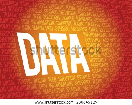 Word Data, related keywords vector concept, it background, presentation - stock vector