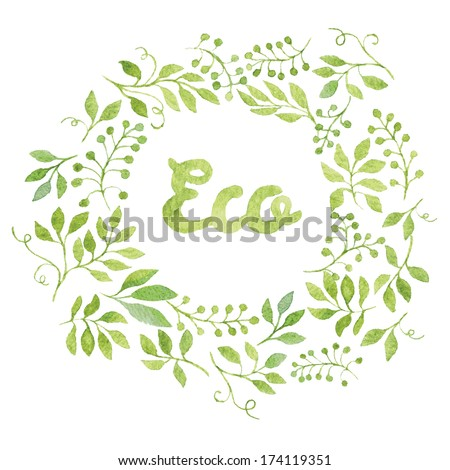 """Word """"Eco"""" in simple and cute floral oval wreath with spring branches and leaves. Vectorized watercolor drawing. - stock vector"""