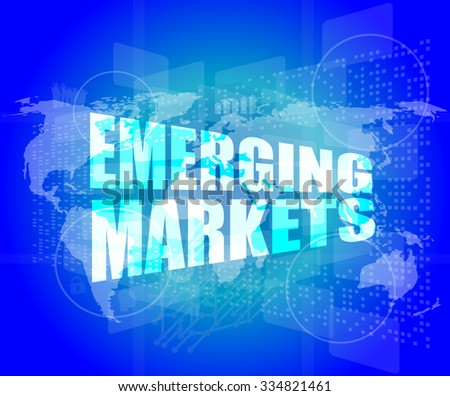 word emerging marketing on digital touch business screen vector illustration - stock vector