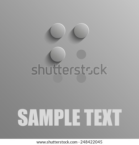Word F in Braille on blue background - stock vector