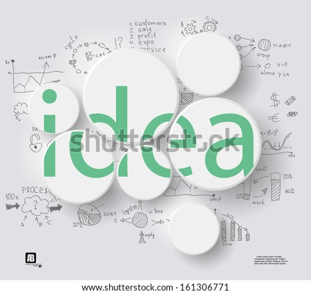 "word ""idea"" in circles on gray background whith business formulas - stock vector"