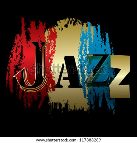 Word Black Background Word Jazz Isolated on a Black