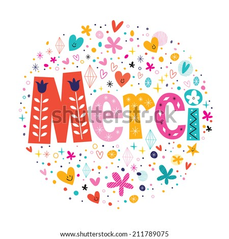 Word Merci Thanks in French typography lettering decorative text card - stock vector
