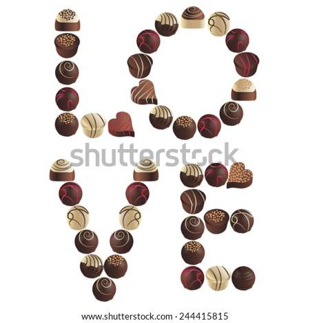 word of love chocolates - stock vector