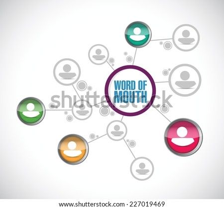 word of mouth diagram network illustration design over a white background - stock vector
