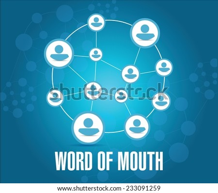 word of mouth people network illustration design over a blue background