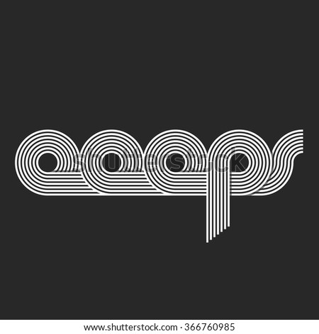 Word Ooops logo lettering, offset line overlapping style, error message site - stock vector