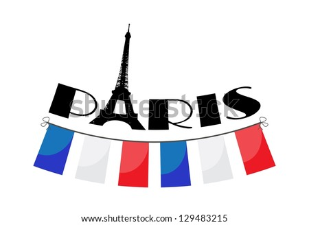 word Paris with vector bunting - stock vector