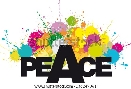 Word PEACE with multicolor stains and splashes - stock vector