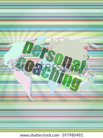 word personal coaching on digital screen 3d, business concept vector illustration - stock vector