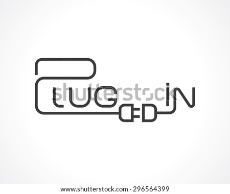 "word ""plug in"" connecting plug and socket concept.  - stock vector"