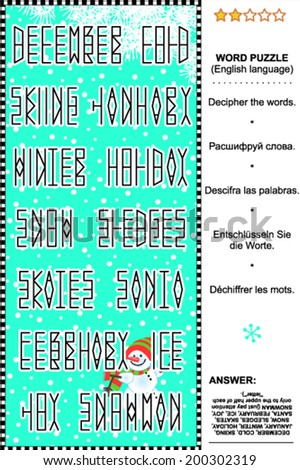 Word puzzle (English language), winter joy themed. Answer included. For high res JPEG or TIFF see image 200302316  - stock vector
