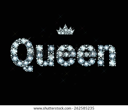 Word queen made of diamonds - stock vector