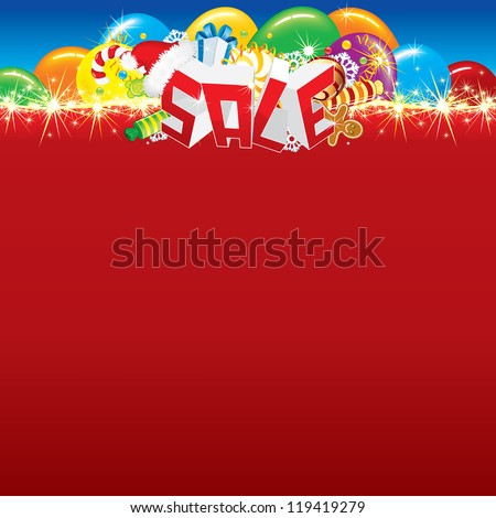 Word Sale, Christmas Symbols, Decorations with the Blank Background, Vector for Your Text, Design or Placard. - stock vector