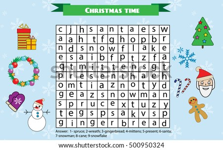 Word Search Puzzle Kids Activity Sheet Christmas Winter Holidays Theme Find Words Children Educational