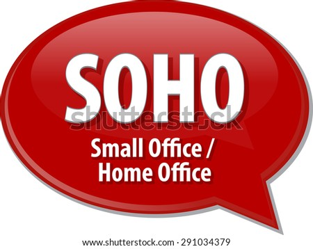 word speech bubble illustration of business acronym term SOHO Small Office Home Office