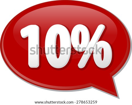 Word speech bubble illustration of discussion forum blog percent discount ten 10 vector - stock vector