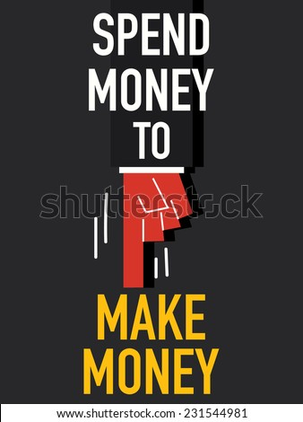 Word SPEND MONEY  - stock vector
