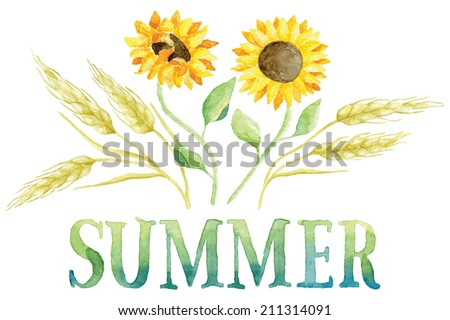 Word SUMMER painted with green and blue watercolor with five ears of wheat and two sunflowers. Vectorized watercolor painting. - stock vector