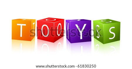 word toys composed from letter cubes. illustration isolated on white background - stock vector