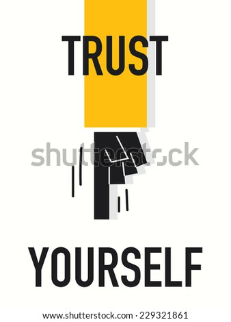 Word  TRUST YOURSELF vector illustration - stock vector