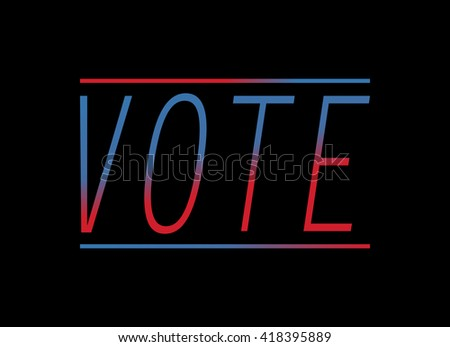 """word """"vote"""" on black background with two lines - stock vector"""