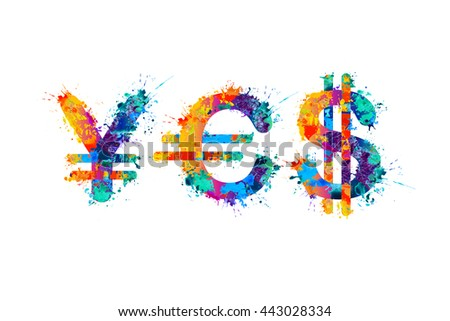 Word Yes Currency Symbols Yen Euro Stock Vector Royalty Free
