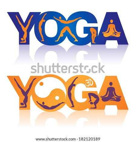 Word Yoga with Yoga positions icons Two colorful Words Yoga decorated with icons yoga theme. Vector illustration.  - stock vector