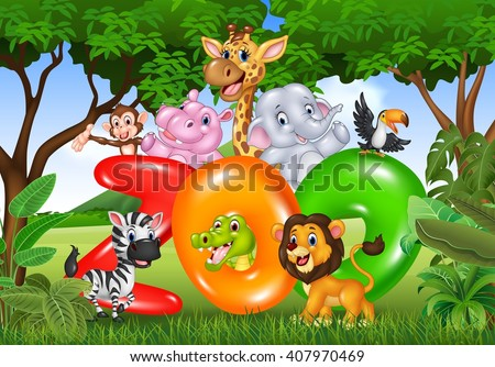 Word zoo with cartoon wild animal africa - stock vector