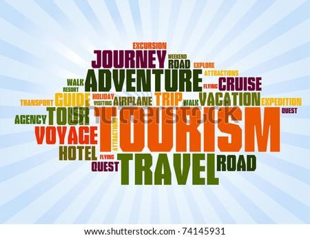 Wordcloud of turism - stock vector