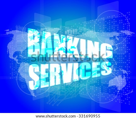 words banking services on digital screen, business concept vector illustration - stock vector