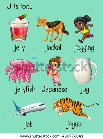 seven letter words with j j is for jellyfish stock images royalty free images 23588 | stock vector words begin with letter j illustration 436976041