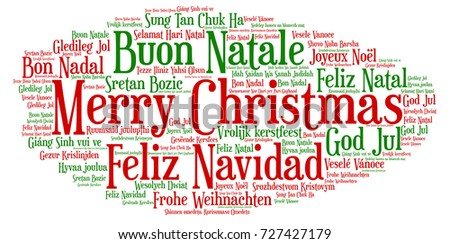 Words cloud, Merry Christmas in all languages of the world made with cloud shape and tags.