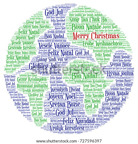 Words Cloud Merry Christmas All Languages Stock Vector - All languages in the world