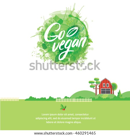 Words GO VEGAN in simple and cute frame with green branches and leaves with watercolor elements in green color. Vectorized watercolor drawing. - stock vector
