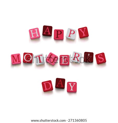 Words happy mother's day with colorful blocks isolated on a white background. Description with bright cubes. Greeting card. Holiday banner. - stock vector
