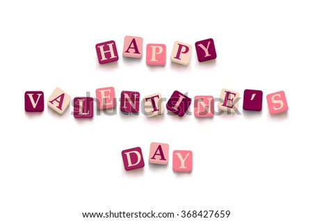 Words happy valentine day with colorful blocks isolated on a white background. Description with bright cubes. Valentine day card. Vector illustration EPS 10. - stock vector