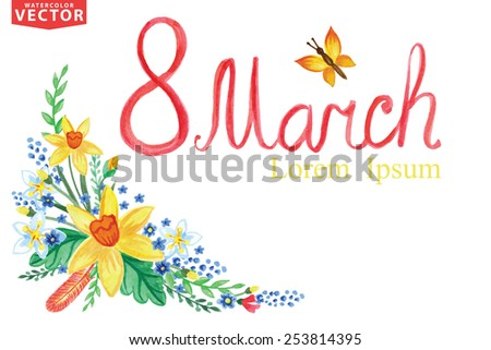 Words Spring with Watercolor floral group,branches,leaves,insects .ForGreeting card with March 8,women day.Seasonal vintage vector Background - stock vector