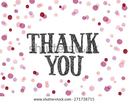 Words Thank You hand-drawn with ink in red and pink watercolor dots. Thank you card template with oval shape. Vectorized watercolor painting. - stock vector
