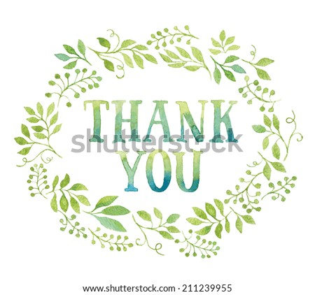 Words THANK YOU in simple and cute floral oval wreath with spring branches and leaves. Vectorized watercolor drawing. - stock vector