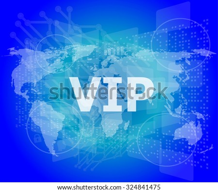 words vip on digital screen, business concept vector illustration - stock vector