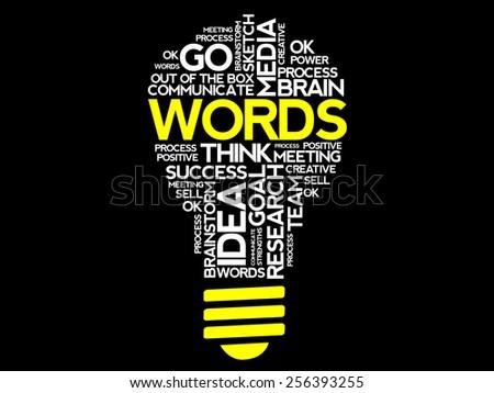 WORDS word cloud bulb vector concept - stock vector