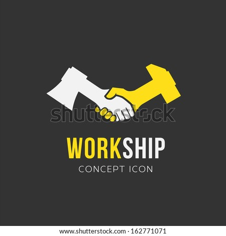 Work and friendship vector symbol icon or Logo Template - stock vector