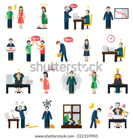 Work and job loss related stress and depression symptoms mental health icons set abstract isolated vector illustration - stock vector