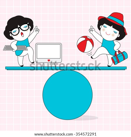 Work And Life Balance Character illustration - stock vector