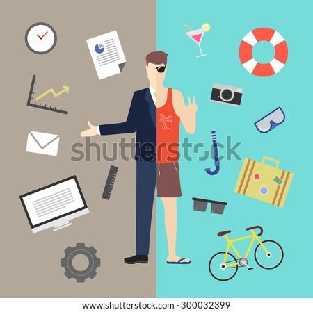 Work and life balance vector illustration - stock vector