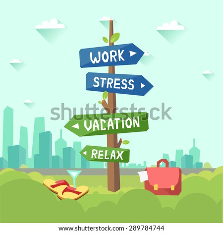work stress vacation relax concept vector stock vector royalty free